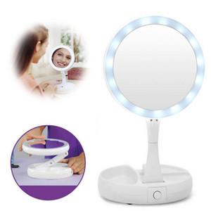 Katlanabilir LED Makyaj Ayna Çift Dönme USB Işıklı Makyaj Aynası Dokunmatik Ekran Ayarlanabilir Masa Kozmetik Aynalar DBC BH2690 Taraflı