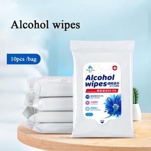 75% d'alcool lingettes désinfectantes jetables lingettes humides mains alcool lingette de nettoyage 10pcs Portable Clean Désinfectant DIPES / lot LJJA3887