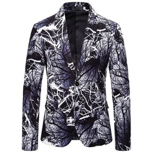2020 NEW Classic 3D Tree Branch Print Blazer Men Hipster Nightclub Party Mens blazers Jacket Stage Singer Men Suit Costume Homme