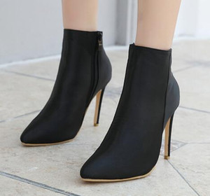 Black High Heels Woman Boots Dress Punk Sock Boot Women Winter Shoes Ladies Pointed Toe Botas Womens Spring Autumn Boots