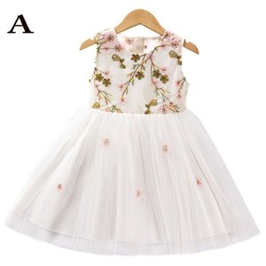 Girl Dress con ricamo floreale Dragonfly decorazioni principe Dress pannello esterno del ponticello di volo manica ragazze di disegno dal tutu