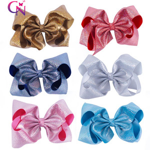 7 &Quot ;Glitter Hair Bows With Clips For Kids Girl Princess Handmade Large Leather Bling Bows Hairgrips