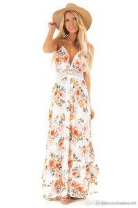 Dames Robe Femmes V Neck Lace lambrissé Fashion Designer Backless Bohème Robes d'été imprimé floral