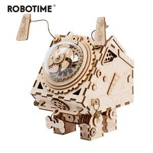 Music Box Robotime 3D Puzzle DIY Movimento de cães de madeira brinquedos modelo para Crianças formação meninos menina cérebro Seymour AM480