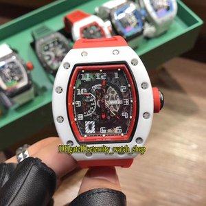 23 Stil R Yüksek sürümü RM 030 Seramik Beyaz Kılıf İskelet tarihi Dial Japonya Miyota Otomatik RM030 Erkek İzle Kauçuk Kayış Tasarımcı Saatler