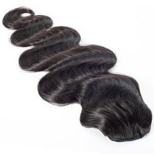 Brasiliano colore naturale Virgin coulisse Coda di cavallo Coda di cavallo 14 a 30 pollici tessuto diritto Onda del corpo umano reale capelli del Ponytail
