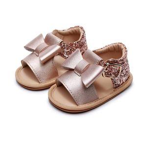 2020 zapatos de bebé del verano sandalias sandalias cristal de la princesa del Bowknot Lentejuelas bebés duro Sole recién nacido princesa