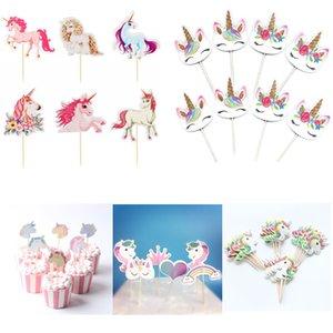 48pcs Cartoon Unicorn Party Cupcake Topper Happy Birthday Party Baby Shower Children Party Decor Kids Cake Decor Supplies