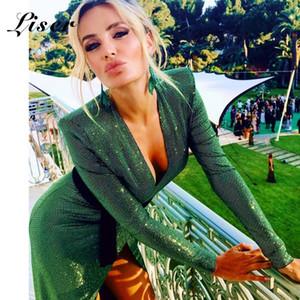 Liser 2020 neue Sommer-Frauen-Kleid mit V-Ausschnitt Strass Schwarz Minikleid reizvoller Bodycon eleganten Verein Promi Party Kleider Vestidos