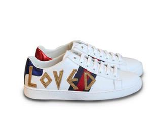 Mujeres Pisos zapatillas de deporte de la marca de moda súper suave piel de cordero carta de cuero genuino amor sexy sexy para mujer zapatos de paseo por mayor