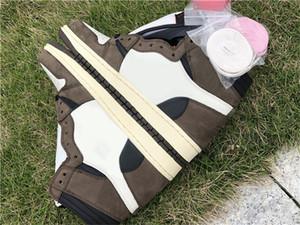 Новый релиз Трэвис Скотт X 1S High OG TS SP 1 MENS низкого Баскетбол обувь Sail Dark Mocha University Открытых кроссовки с оригинальным Box US7-13