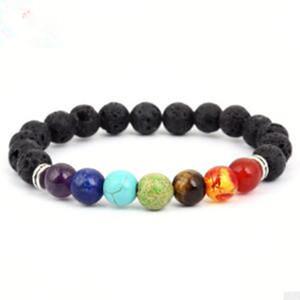10 pcs La chaîne rock yoga énergie rock lave accessoire santé 20 cm 18 grammes design de mode chaînette main chanceuse bracelet chaîne