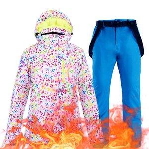 Kadınlar Su geçirmez rüzgar geçirmez Kalınlaşmak Sıcak Kayak Jacket Ve Snowboard Pantolon Seti Kadın Kar Parka Coat Cyf254 İçin Kayak Suit
