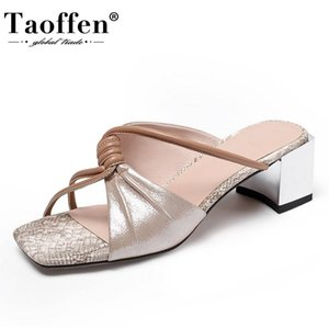 Taoffen New Design Women Sandals Real Leather Patchwork Design Woman Summer Shoes Fashion Woman Party Footwear Size 34-42