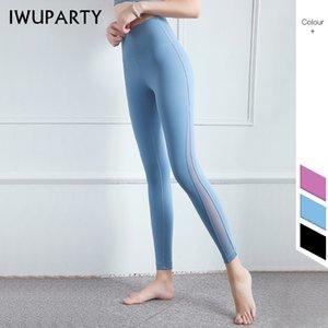 IWUPARTY Hot Patchwork Mesh Sport Leggings taille haute compression Pantalons de yoga Femmes Fitness Vêtements Tummy contrôle serré Gym