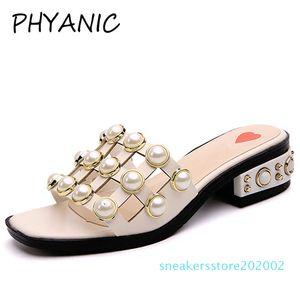 PHYANIC 2018 mujer sandalias cadena moda cuadrado Toe zapatillas verano playa pisos Slip On mujeres zapatos Creepers s02