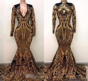 2019 Роскошные золотые черные платья для выпускного вечера Русалка с плеча Сексуальные африканские платья для выпускного вечера Платья для особых случаев Вечерняя одежда