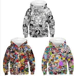 Chica del animado sudadera con capucha de impresión digital 3D con capucha suéter ropa de los niños de Europa Tamaño Ropa para Niños camiseta de béisbol