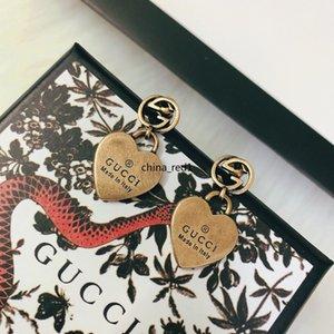 상자 고급 보석 숙녀 귀걸이 복고풍 황동 심장 디자이너 귀걸이는 최고 품질의 elagant 여성 스터드 귀걸이 패션 스타일