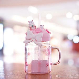 아웃 도어 스포츠 동반 컵을위한 새로운 스타 벅스 사쿠라 고양이 분홍색 유리 빨대 커피 컵 벚꽃 메이슨 차가운 물 컵