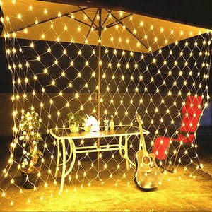 Mesh LED Fairy Lights Outdoor EU 220V Lighting String Holiday Party Christmas Night Light Decoration Net LED Garland Wall Lamp Y200603
