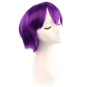 lila Anime Perücken Cosplay bunte kurze lockige Haare mit 28cm synthetischem Geflecht Haare