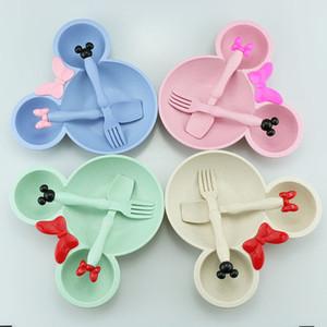 3pcs / set Los niños de dibujos animados de paja de trigo de Tazones cena del bebé de alimentación de la placa del vajilla del bebé Formación Tazón Cuchara Tenedor para Niños