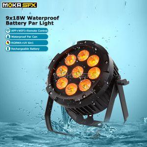 Alimentation par batterie Dj Lumière 9x18W étanche Par lumière Wifi App Télécommande RGBWA + UV 6in1 étape Équipement d'éclairage