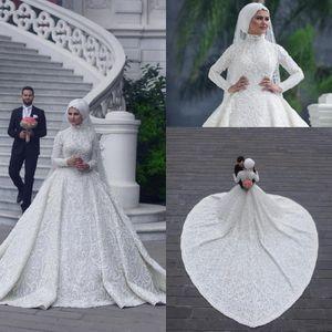 2020 Vintage High Neck Long Sleeve Arabic хиджаб мусульманки Свадебные платья Аппликация Кружева Белый Свадебные платья суд Поезд Свадебные да SPOSA BC0393