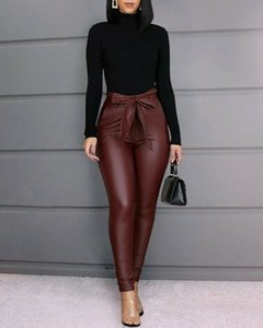 Seksi Kadınlar Pu Deri Pantolon Tayt Bayan Skinny Gothic Punk Pant Pantolon Yüksek Bel Katı Seksi Skinny pantolonlar