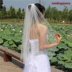 Hot vente de luxe En stock réel Blanc Ivoire Photos de mariage Veil poignet Longueur perles bord Bridal Veil une couche en alliage peigne