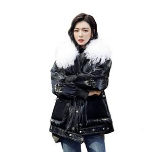 (TopFurMall) Зима Женщины Parkas вниз пальто куртки шерсти овечки Воротник Lady Outwear шинель LF9178 T191030