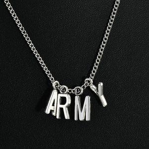 Мода Kpop БПС АРМЕЙСКИЙ серебряное ожерелье Bangtan Boys Jimin V SUGA письмо Подвеска цепи НОВЫЙ
