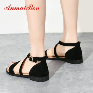 ANMAIRON Vaca Suede Básico Casual Buckle Strap Plano Sandals Capa Moda Heel Women Sandals 2020 Shoes Mulheres Designers