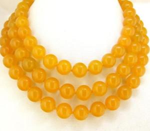 """Halskette Freies Verschiffen ++++ Rare10mm Halsketten-gelbe Jade-runde Perle geknotet 48 """"Lariat"""