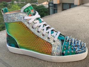 Llegado marca con nuevos colores brillantes hermosas puntos de los zapatos planos rojos zapatos inferiores amantes de la fiesta de las mujeres de los hombres de cuero genuino las zapatillas de deporte c29