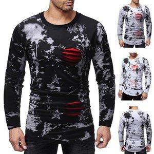 Tshirts Star Printed Long Sleeve Crew Neck Hole Design Fashion Tops Casual Mens Clothing Autumn Mens Designer