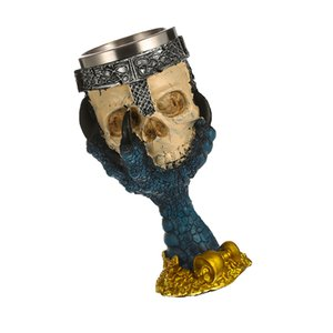 3D Skull Head Stainless Goblet Claw Wine Beer Decorative Cup Pub Craft -Blue