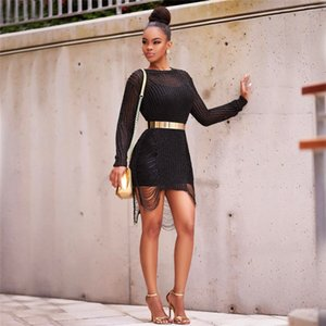 Золото вязать кофточки женские платья с длинным рукавом Hollowe Out Сыпучие пляжных костюмов Повседневный Дизайнер Женский свитер Блуза
