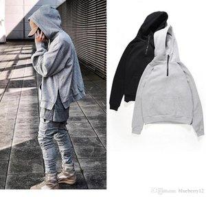 Mens Hoodies High Street Bottom Spilt Ribbed Long Sleeve Fleece Hoodie Fashion Solid Sweatshirt Asian Size M-XL