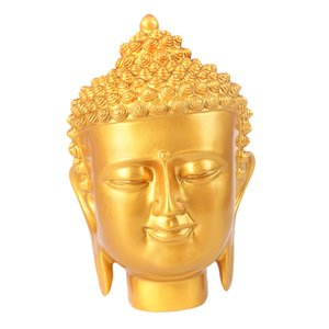 Buddha Head Statue, Hand Carved Resin Buddha Collectible Figurine Shelf Display Home Decoration, 7 inch