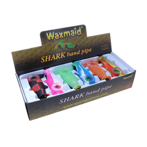 Glass oil burner pipe Smoking tobacco water pipe Waxmaid Shark Mini Hand Pipe with glass bowl