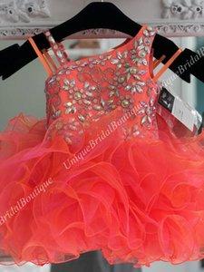 Cupcake Little Girl Pageant Vestido 2019 miss Glitz Tangerina Infantil Criança Crianças Prom Formal Vestidos de Festa Curto Zip Voltar Babados Saia