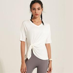 Hızlı Kurutma Gevşek Gömlek Yeni Bel Toka Tasarım Kadınlar Spor Giyim Koşu CretKoav Spor Yoga Kısa Kollu T Shirt Kadınlar
