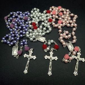 خمر الدينية الأبيض مقلد حبات اللؤلؤ وردة حمراء الوردية قلادة المرأة طويل ستراند القلائد والمجوهرات هدية