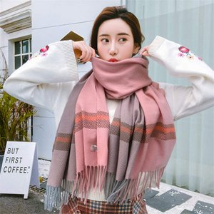 Automne Hiver 2019 Femme Laine Plaid écharpe de cachemire de femmes Foulards large Treillis long Châle Wrap couverture chaude Tippet