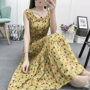 Wholesale women's summer new big swing waist slimming sleeveless floral beach vacation long skirt cotton silk vest dress