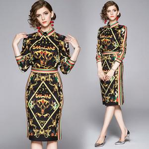 Hot New 2020 Womens Luxo Imprimir Vintage shirt + Buttock saia terno elegante Office Lady Sexy Magro Two Pieces Define Partido Vestidos