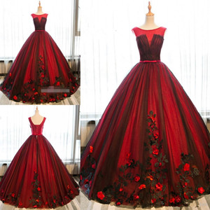 2019 Latest Black and Red Ball Gown Quinceanera Dresses Tulle Sweet 16 Lace Up Appliques Prom Dresses Party Gowns Special Occasion Dresses