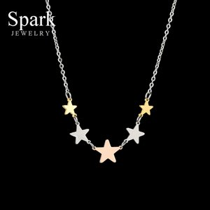 Faísca Collar Romântico pequenas estrelas Charme Colar Para Mulheres Pentagrama Colares do presente de noivado de aço inoxidável colorido